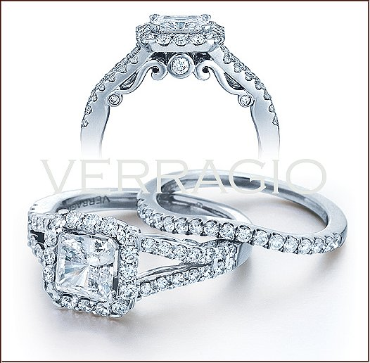 insignia 7010p diamond engagement ring from verragio - Square Cut Wedding Rings