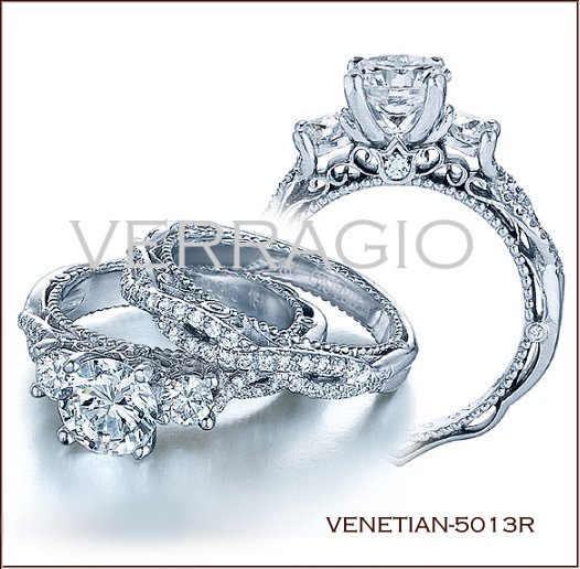 venetian 5013r diamond engagement ring from verragio - Platinum Wedding Rings For Her