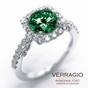 Insignia-7047 engagement ring with an Emerald center by Verragio