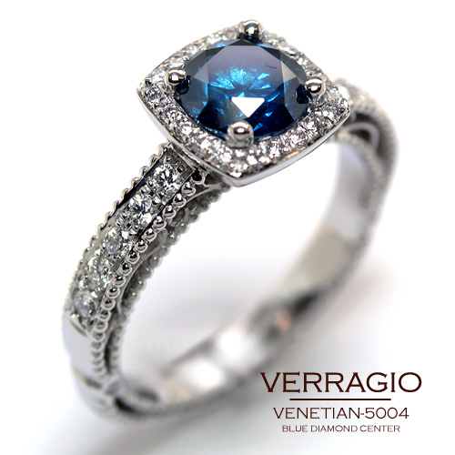 venetian 5004 3 engagement ring from the venetian collection - Blue Diamond Wedding Rings