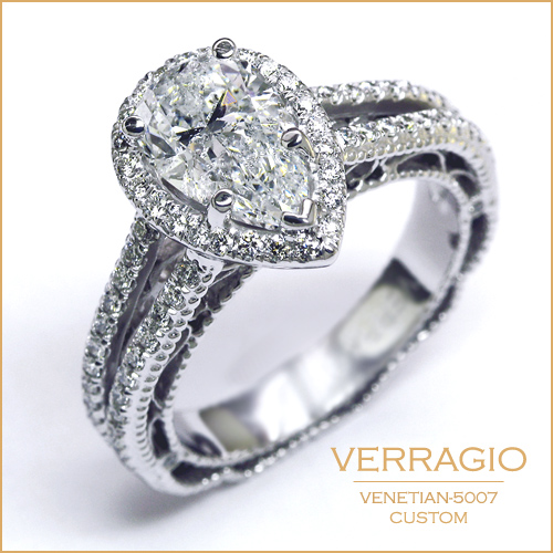 Custom designed Venetian 5007 for a pear shaped diamond center.