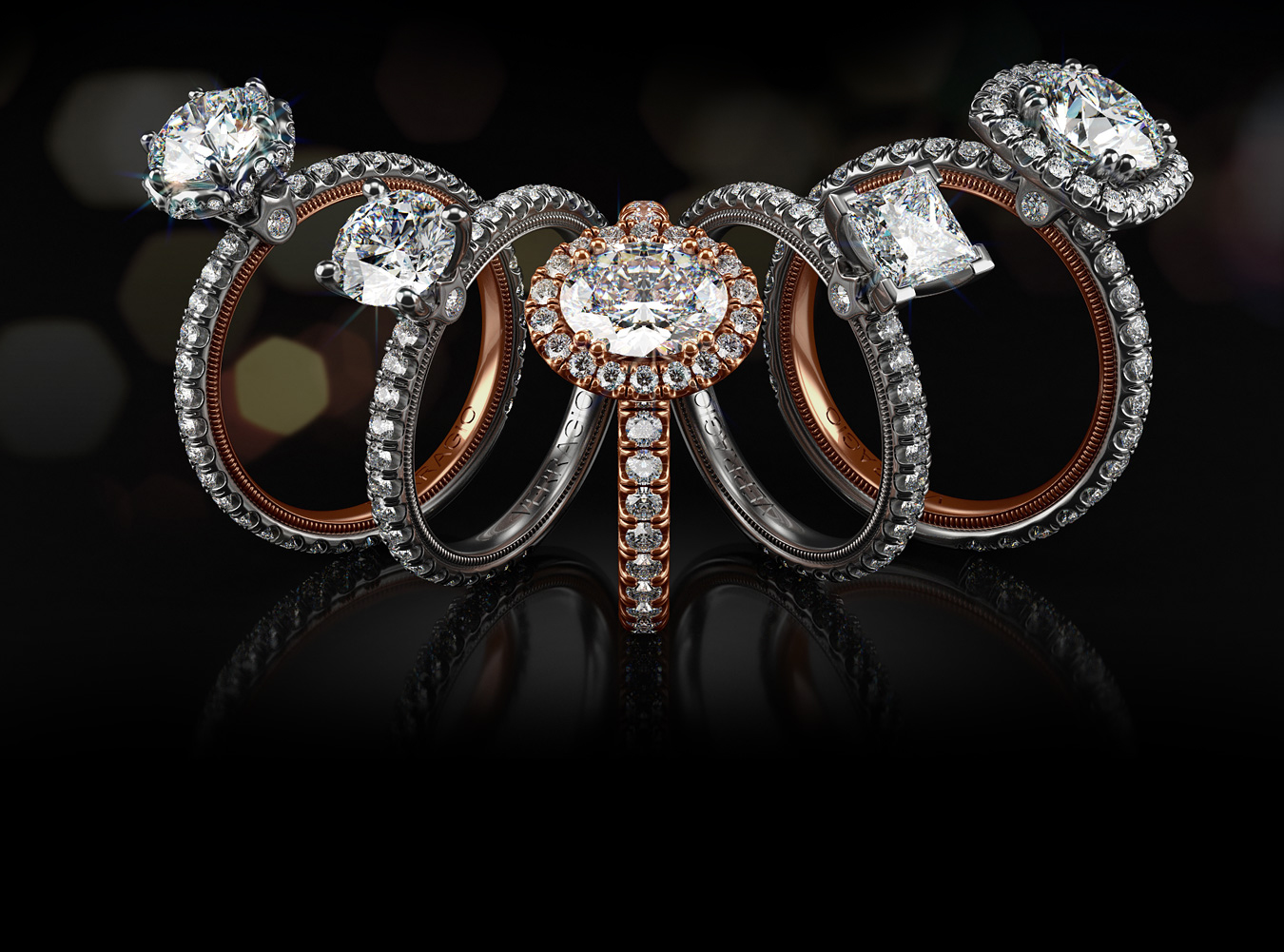 Five Verragio Tradition Rings