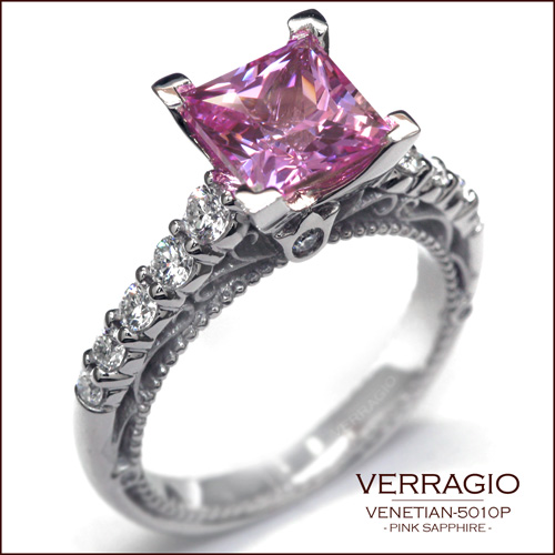 Pink Sapphire is set in this Venetian-5010P for splash of color.